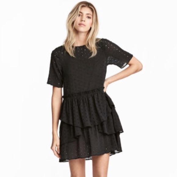 daa09a112f93 H&M Dresses | Hm Black Eyelet Tiered Dress | Poshmark